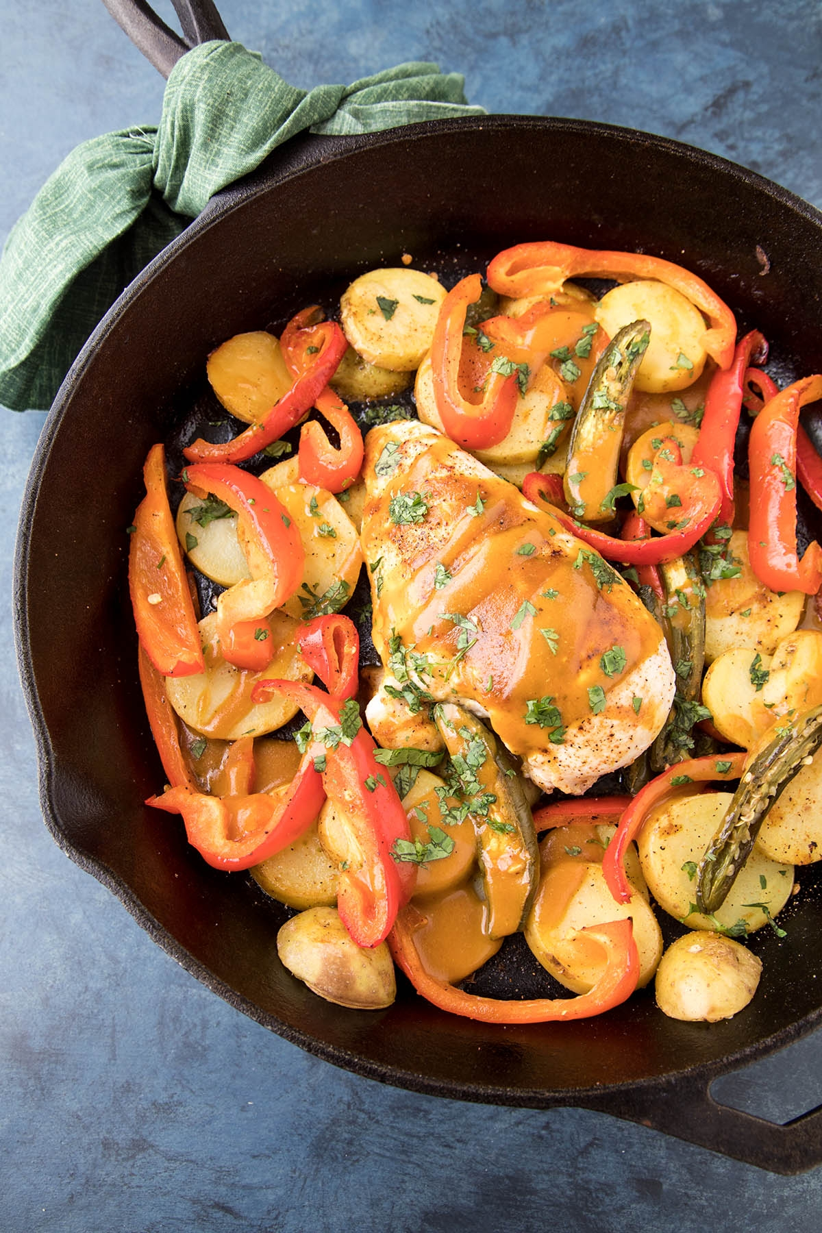 One-Pan Baked Chicken and Peppers with South Carolina BBQ Sauce