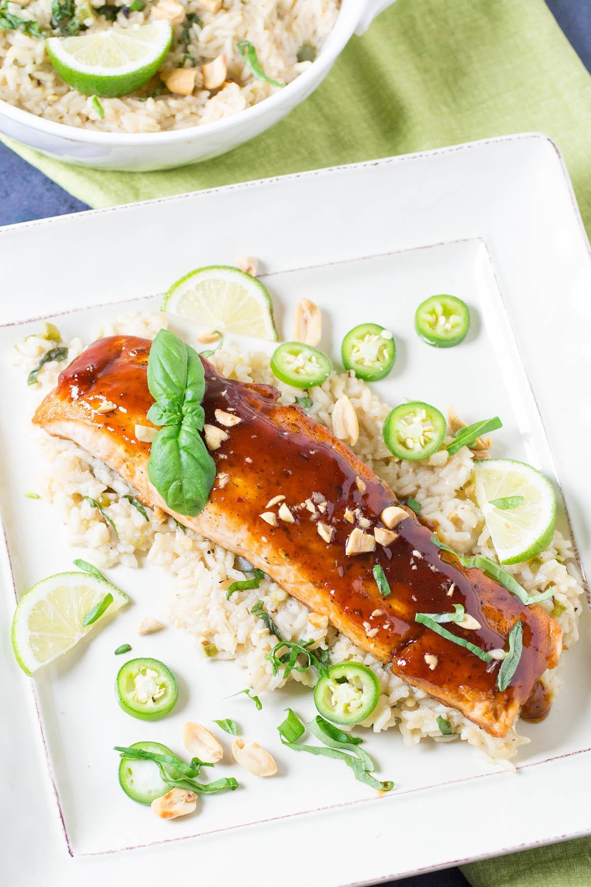 Szechuan Salmon with Chili-Basil Rice