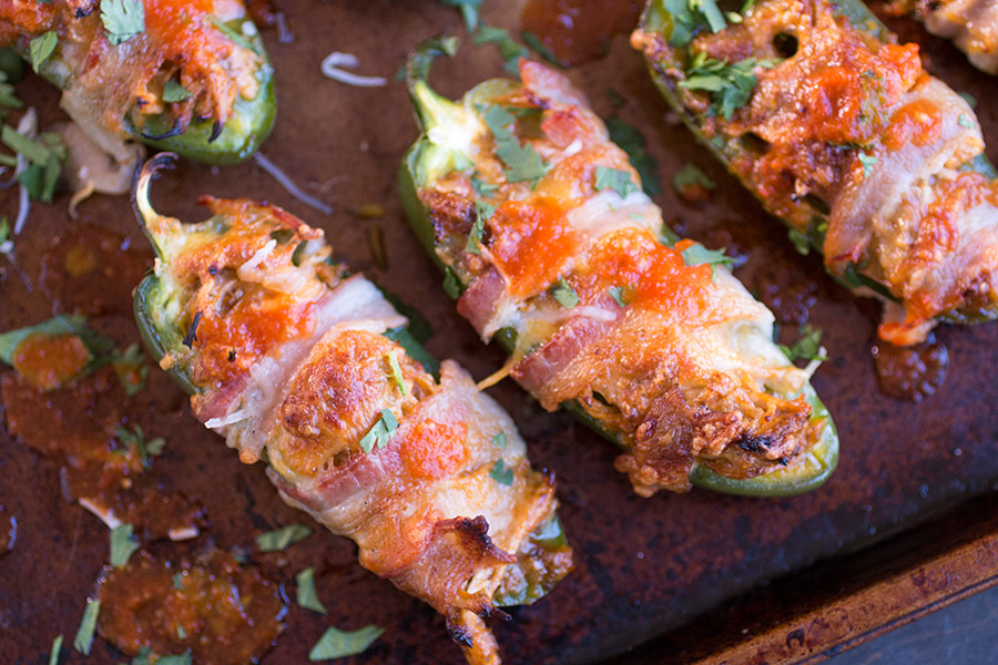 Bacon Wrapped Jalapeno Poppers Just out of the oven
