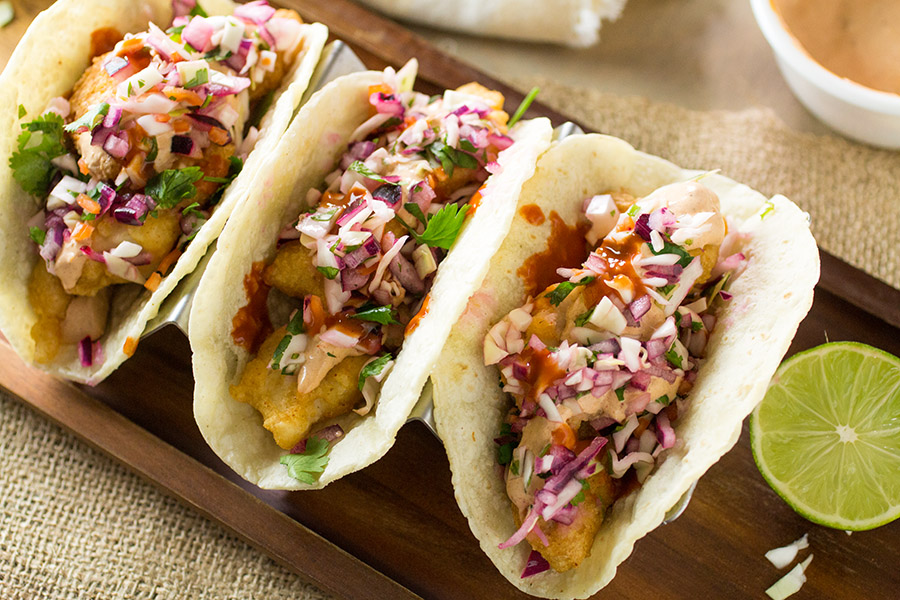 Beer Battered Fish Tacos with Spicy Habanero Slaw - Recipe