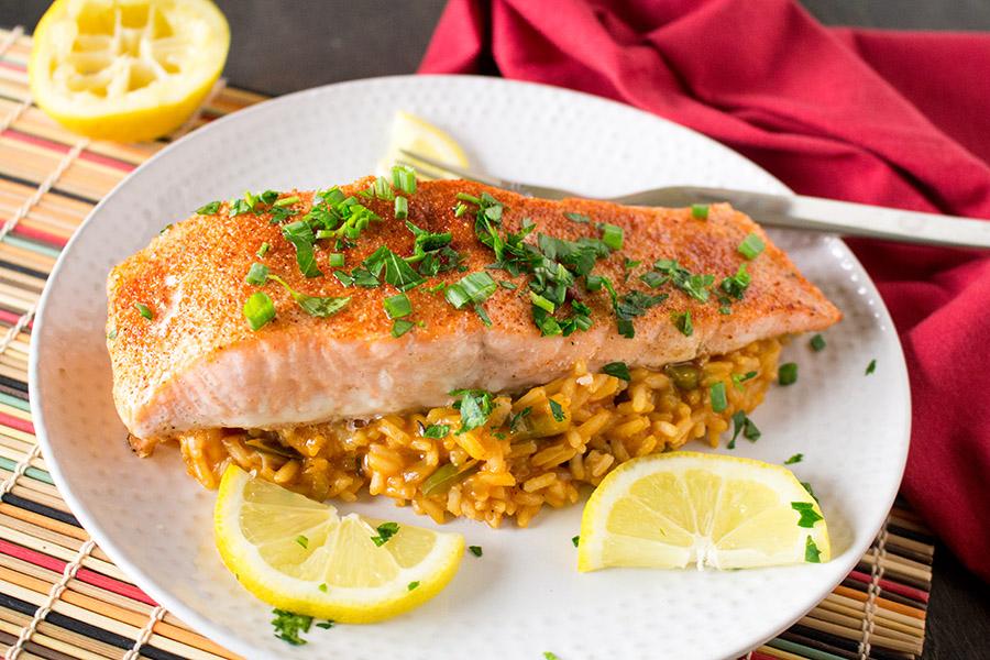 Cajun Baked Salmon with Cajun Rice - Recipe
