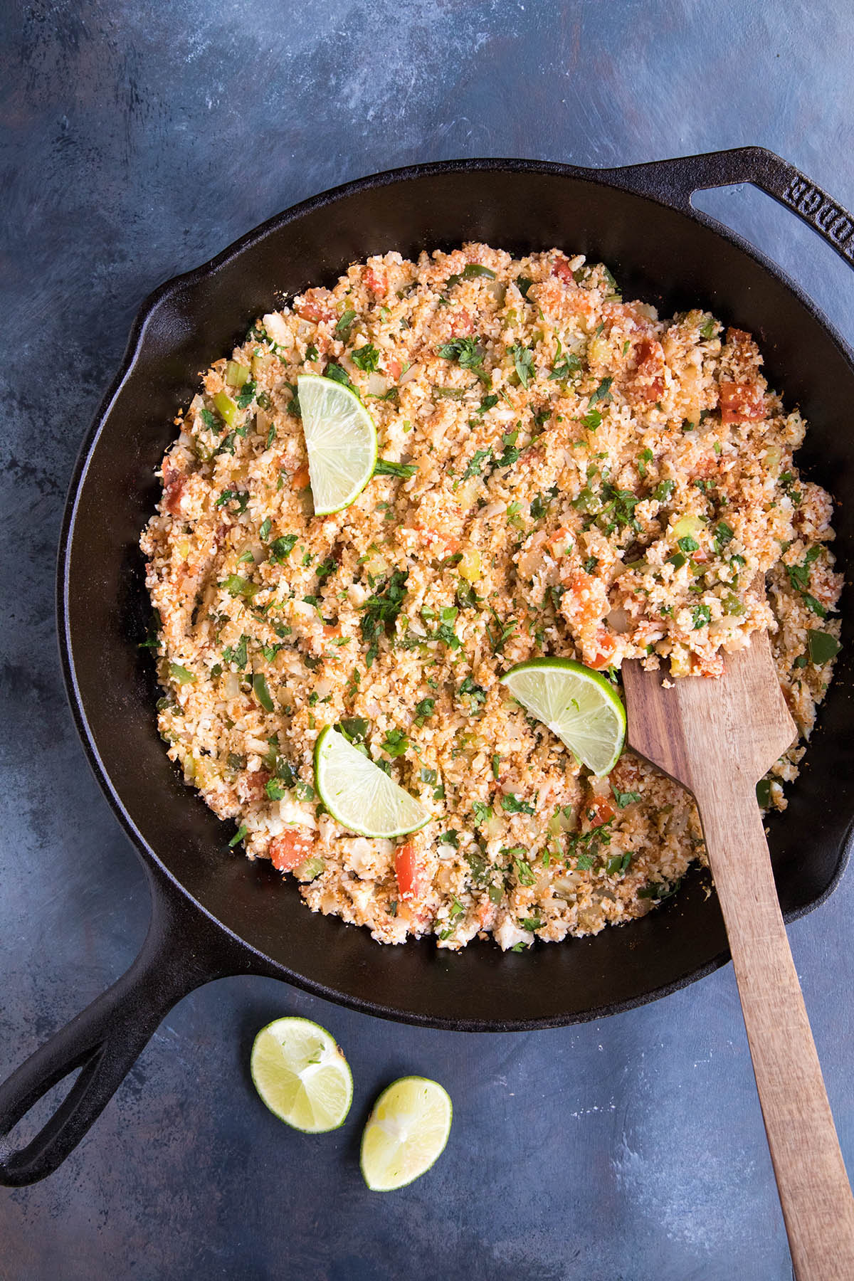 Cajun Cauliflower Rice in the pan. One of my new favorite recipes.