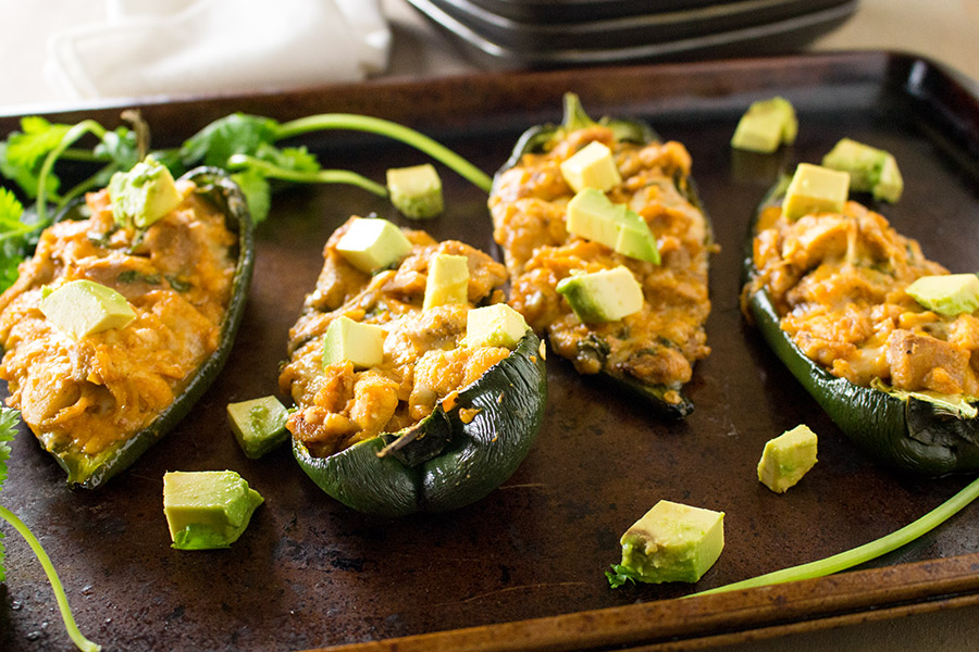 Cajun Chicken Stuffed Poblano Peppers - Recipe