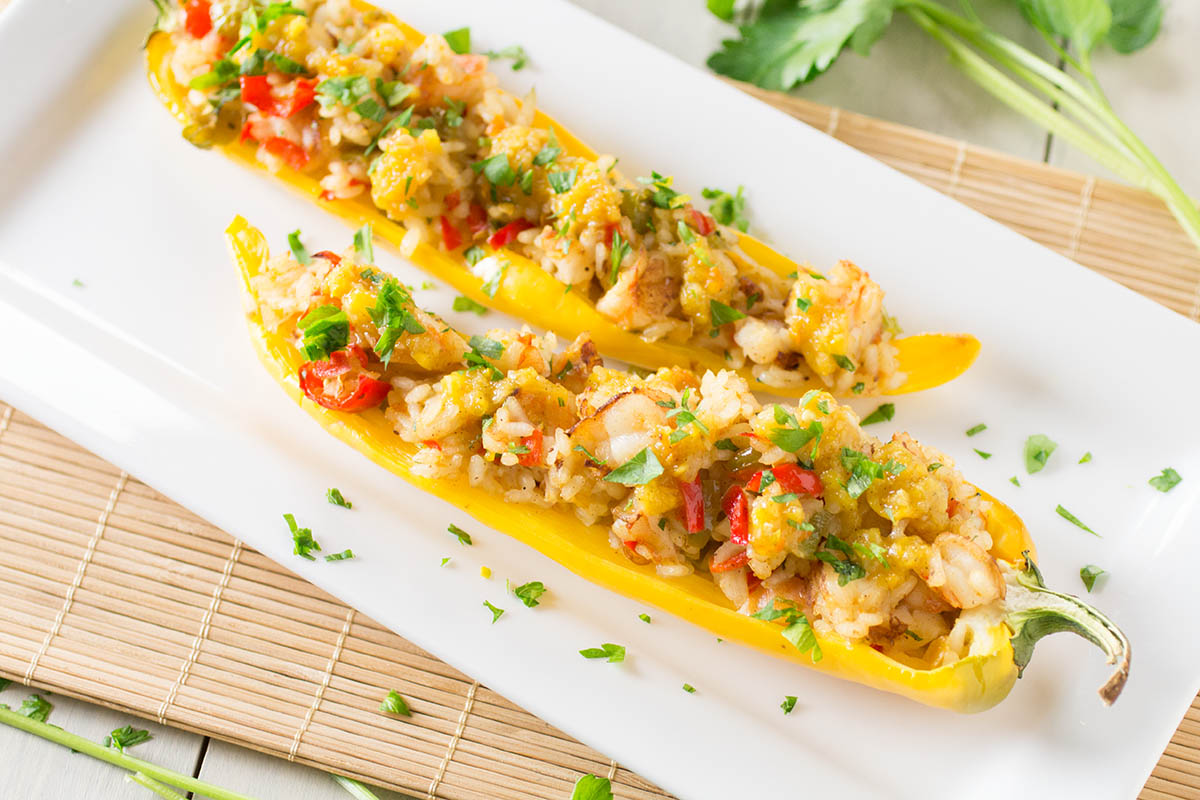 Caribbean Coconut Rice and Shrimp Stuffed Peppers – Recipe