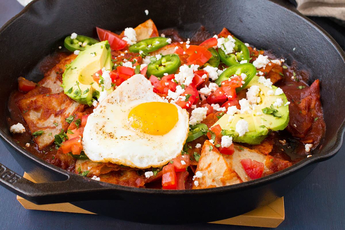 Chilaquiles Rojos in the pan, ready to eat