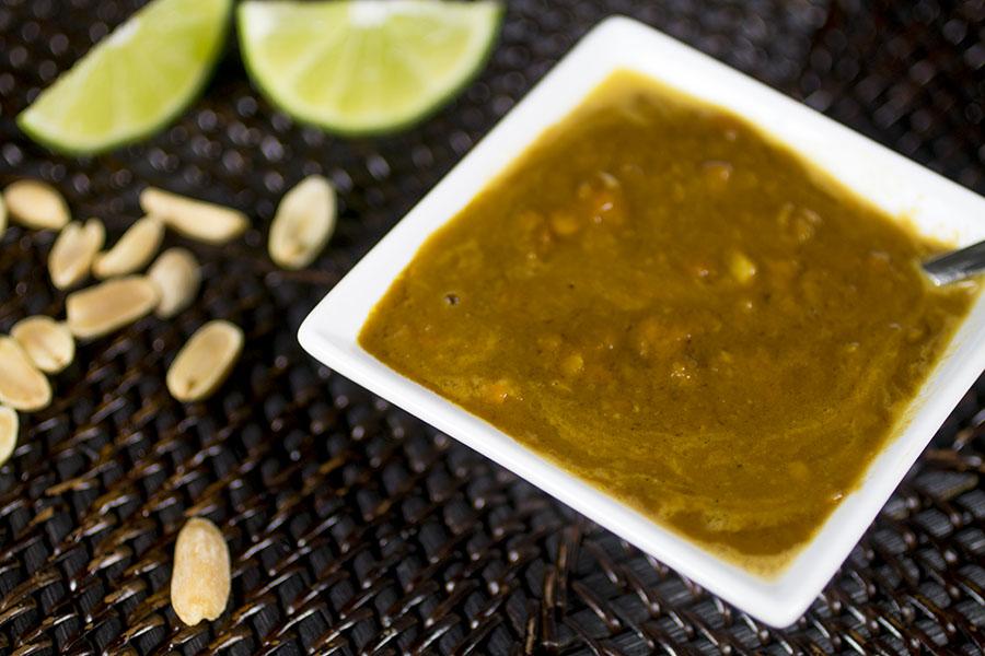 Chili-Peanut Sauce with Orange Thai Chili Peppers