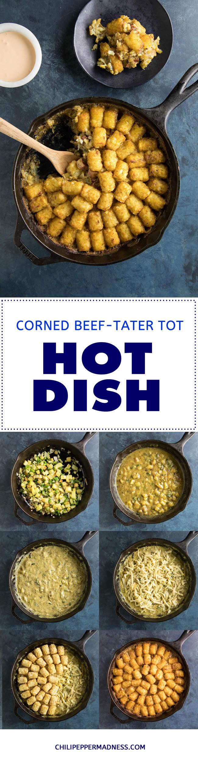 Corned Beef Tater Tot Hotdish (Casserole) - Recipe #tatertots #tots #hotdish #cornedbeef #casserole
