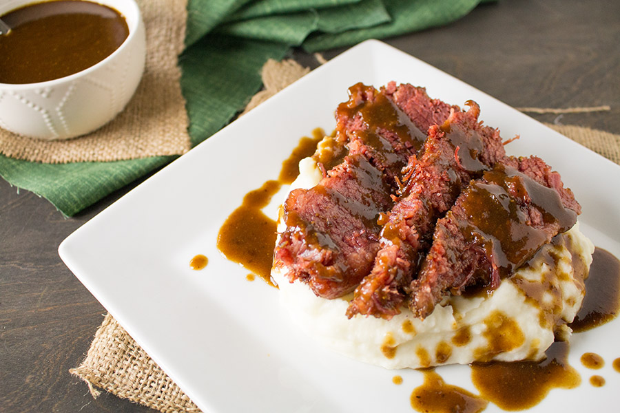 Slow Cooked Corned Beef with Spicy Guinness Gravy and Caramelized Cabbage Recipe