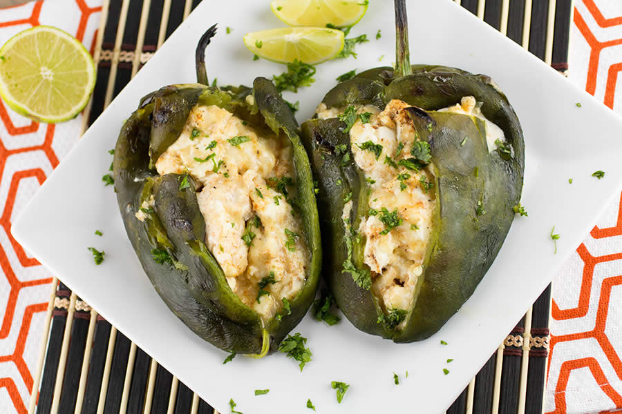 Cream Cheese Stuffed Grilled Poblano Peppers