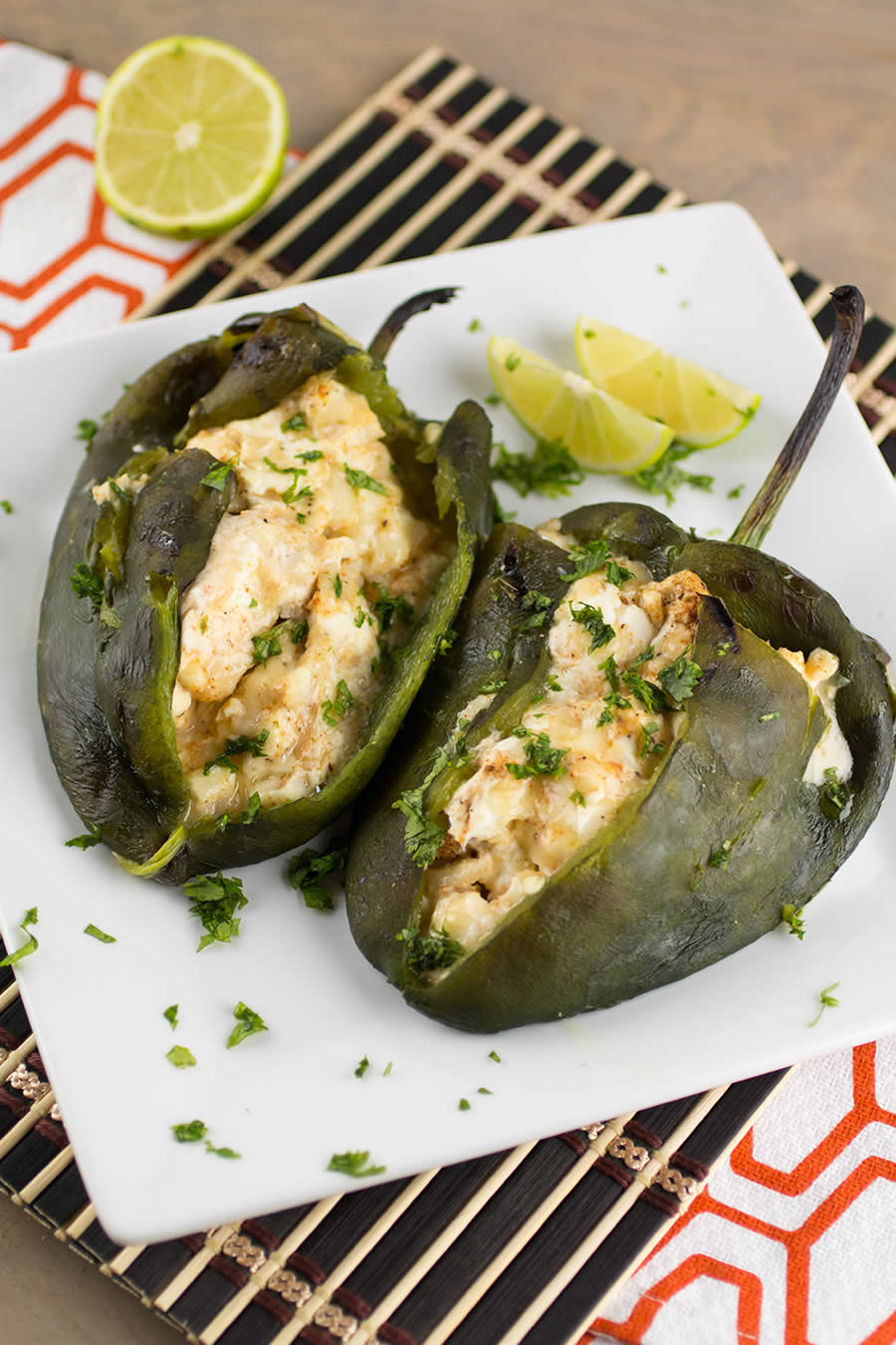 Cream Cheese Stuffed Poblano Peppers are delicious.