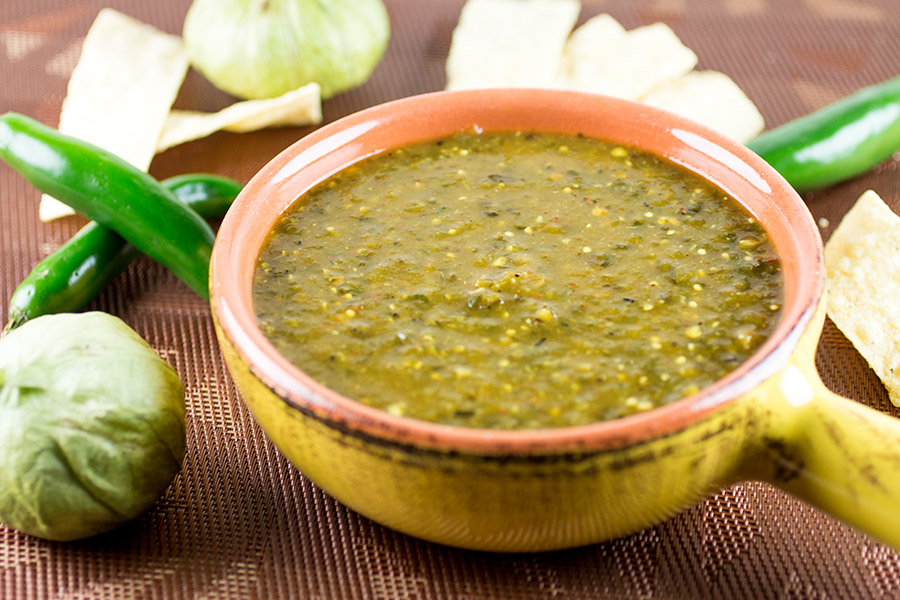 Homemade Green Enchilada Sauce with Roasted Tomatillos