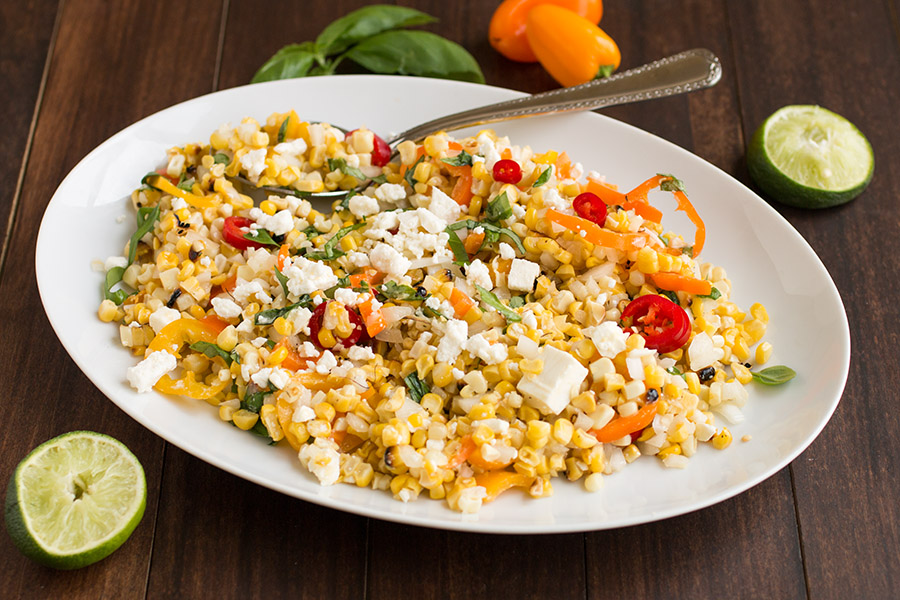 Grilled Corn Salad with Feta and Sweet Peppers – Recipe