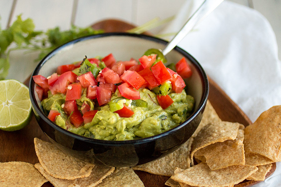 Guacamole with Roasted Jalapenos and Tomato - Recipe