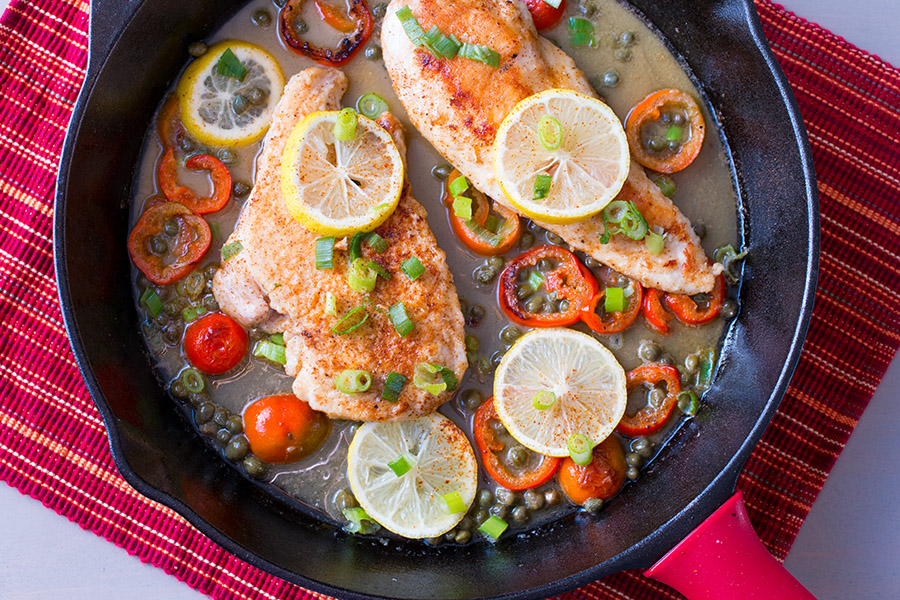 Lemon Chicken Piccata with Capers and Peppers