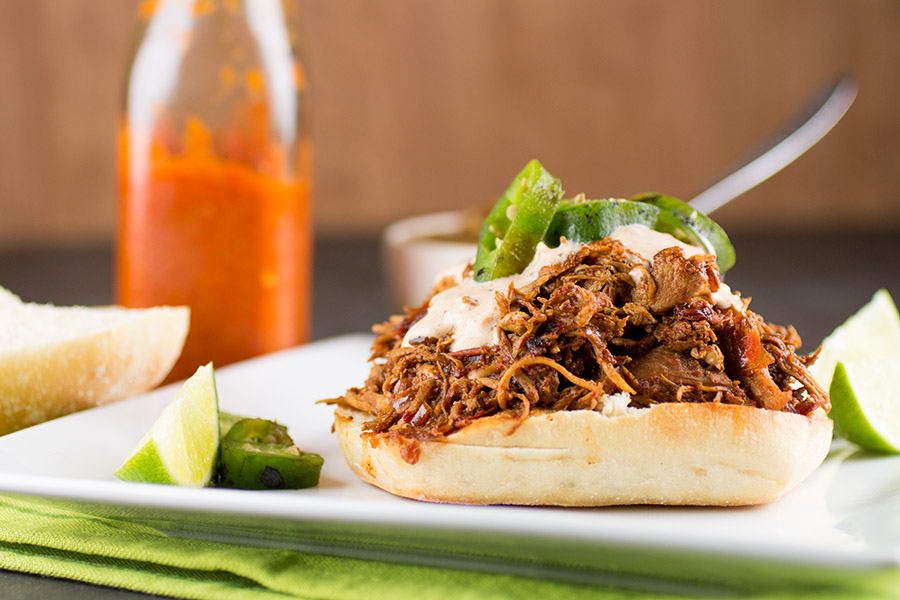 Mexican Chicken Torta with Ancho-Lime Cream Sauce