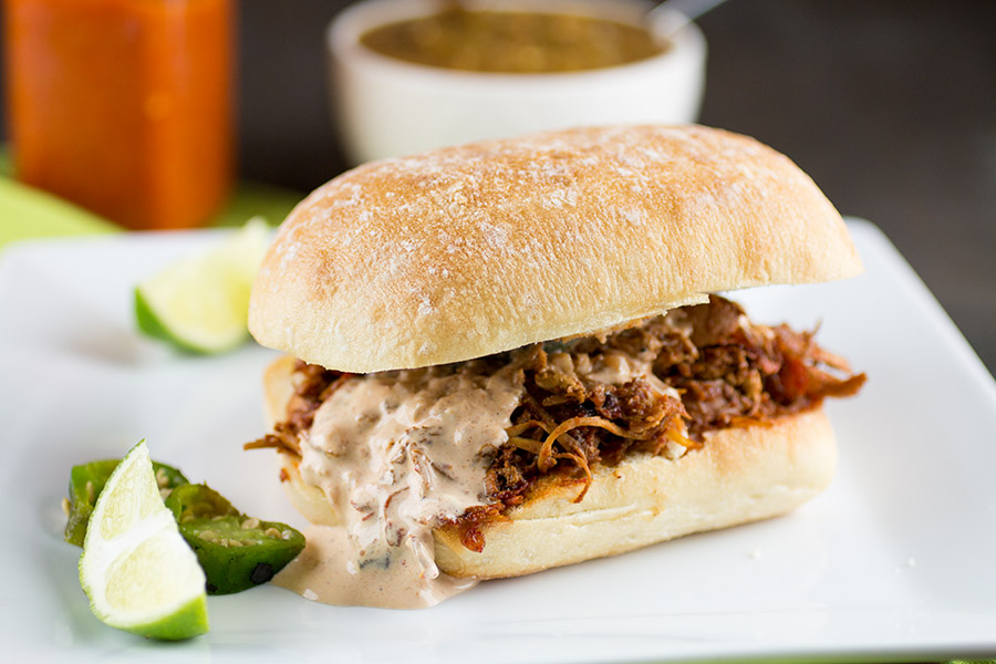 Mexican Chicken Torta with Ancho-Lime Cream Sauce Recipe