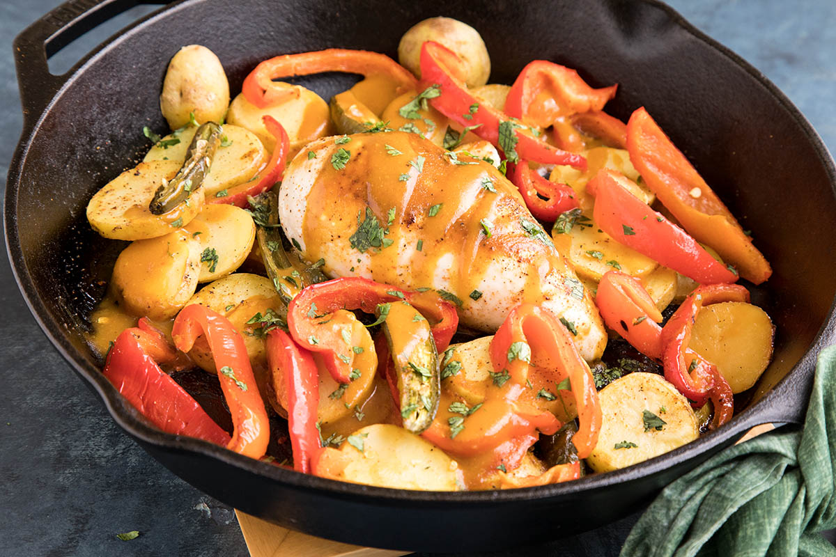 One-Pan Baked Chicken and Peppers with South Carolina BBQ Sauce – Recipe
