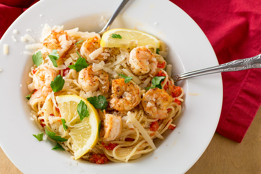 Shrimp Pasta with Creamy Roasted Red Pepper Sauce Recipe