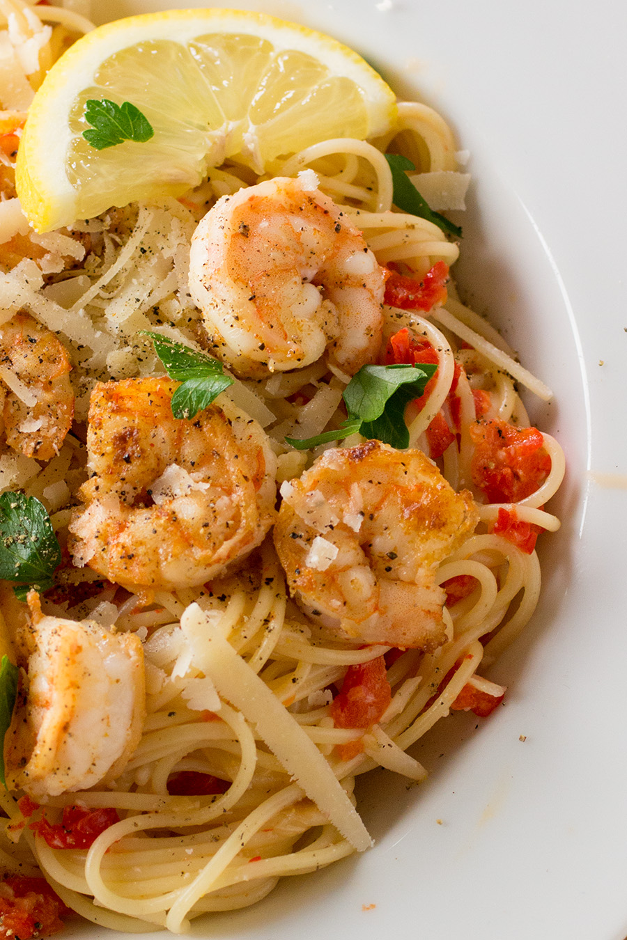 Pasta with Creamy Roasted Red Pepper Sauce and Seared Shrimp - Recipe