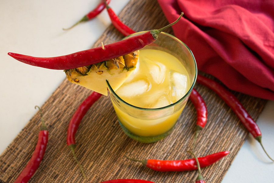 Quick Chili Infused Pineapple Vodka Cocktail