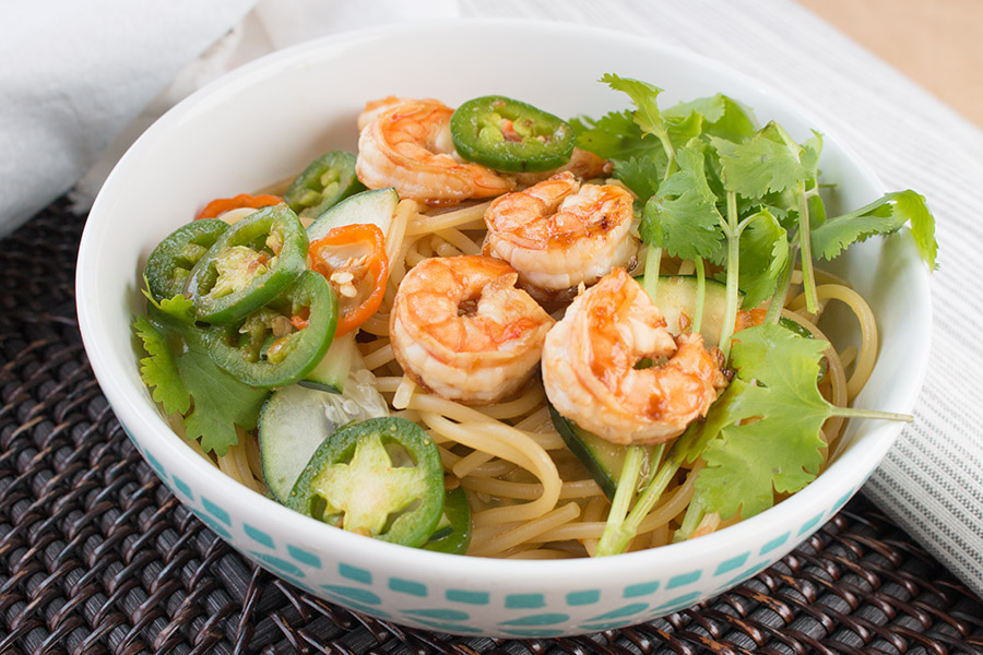 Sweet and Spicy Asian Noodle Bowl with Habanero Peppers