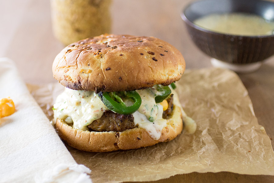 TNT Pork Burgers with Ghost Pepper-Mustard Aioli - Recipe