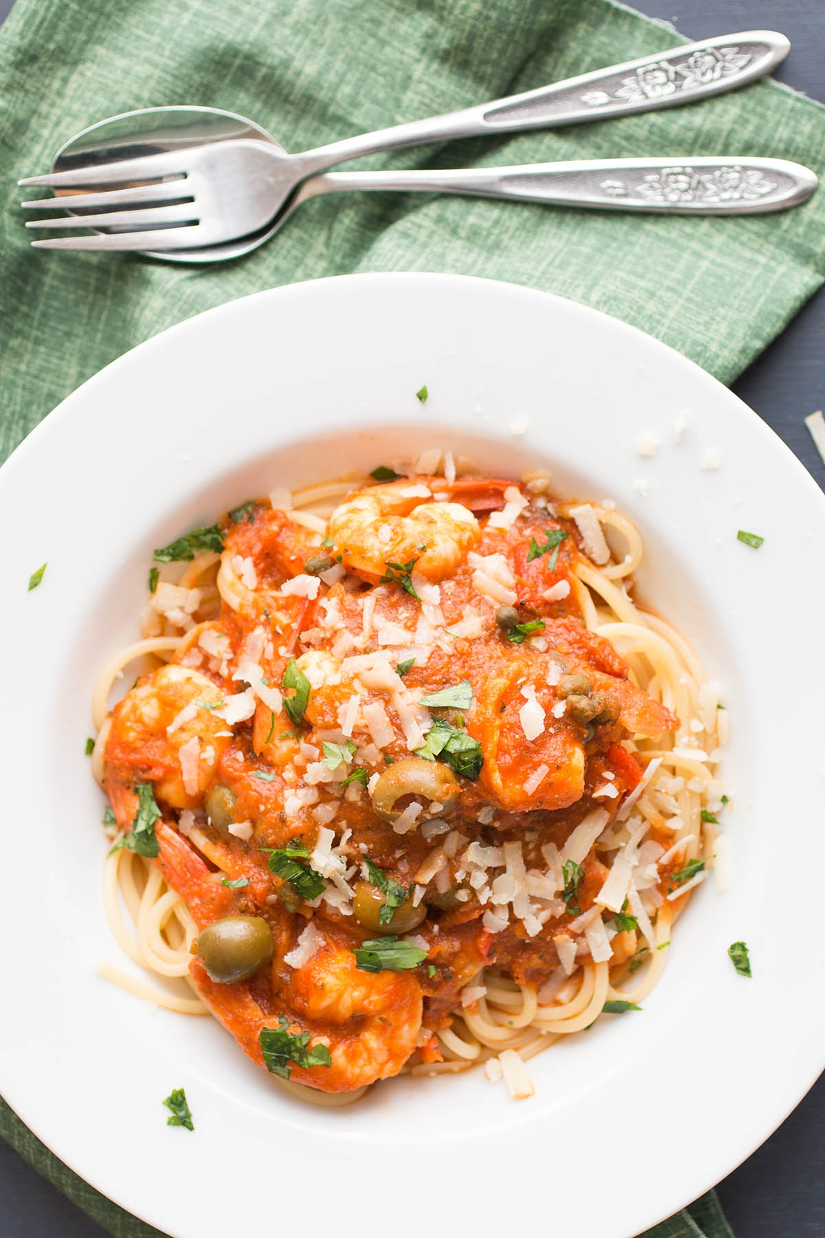 Pasta Puttanesca with Shrimp