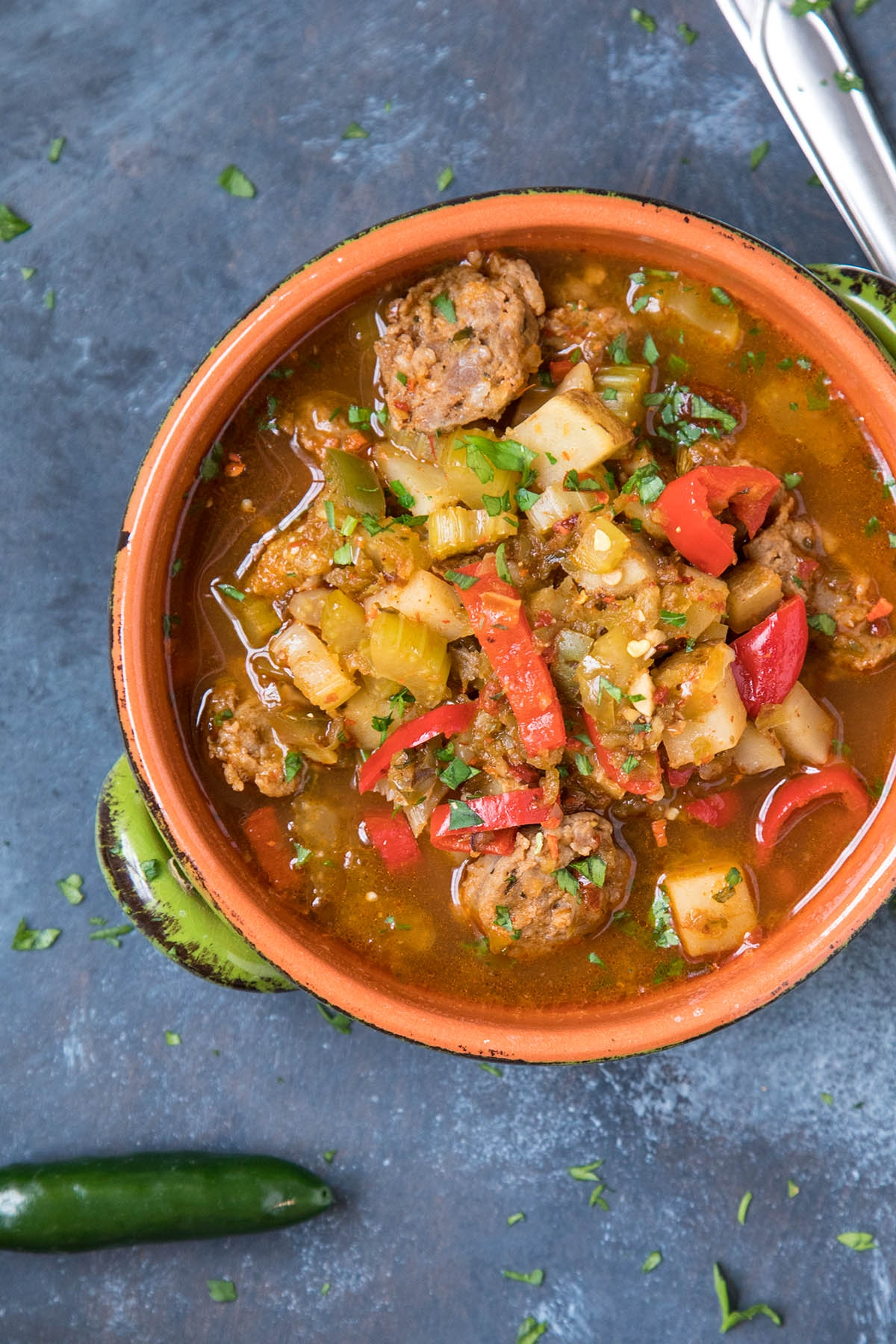 Spicy Sausage Soup with Potato