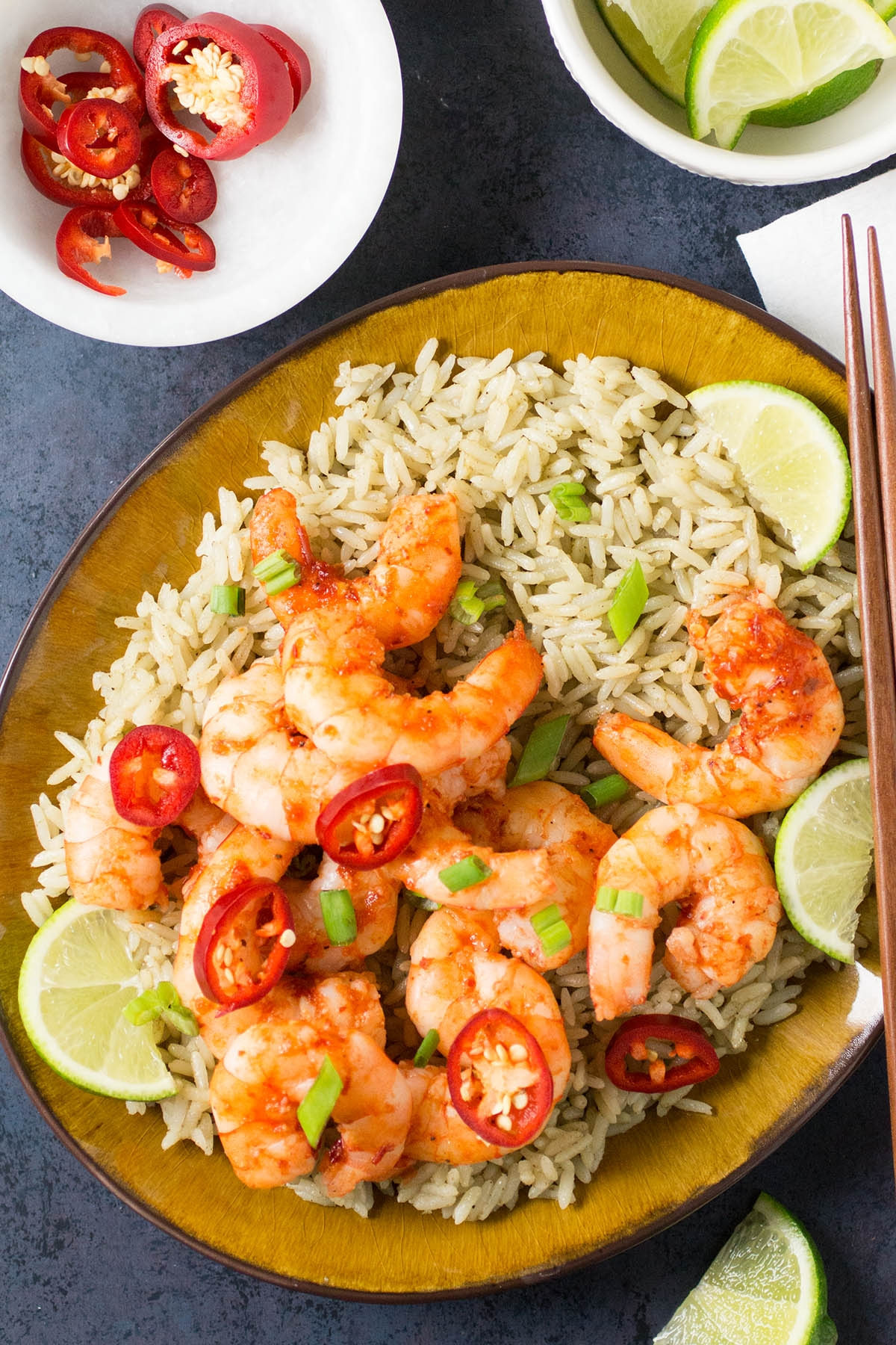 Chili-Garlic Shrimp with Thai Lime Rice