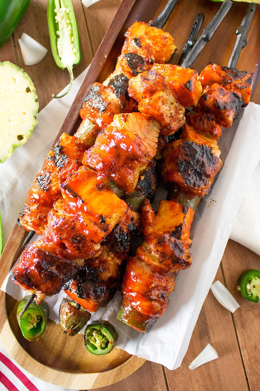 Chicken and Pork BBQ Skewers with Honey-Sriracha Glaze