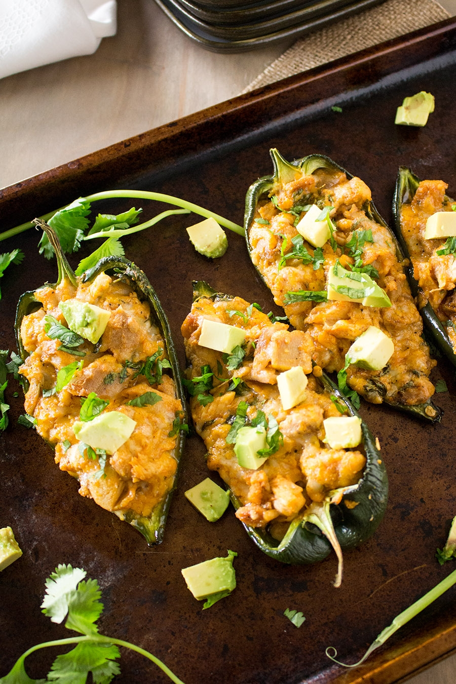 Cajun Chicken Stuffed Poblano Peppers