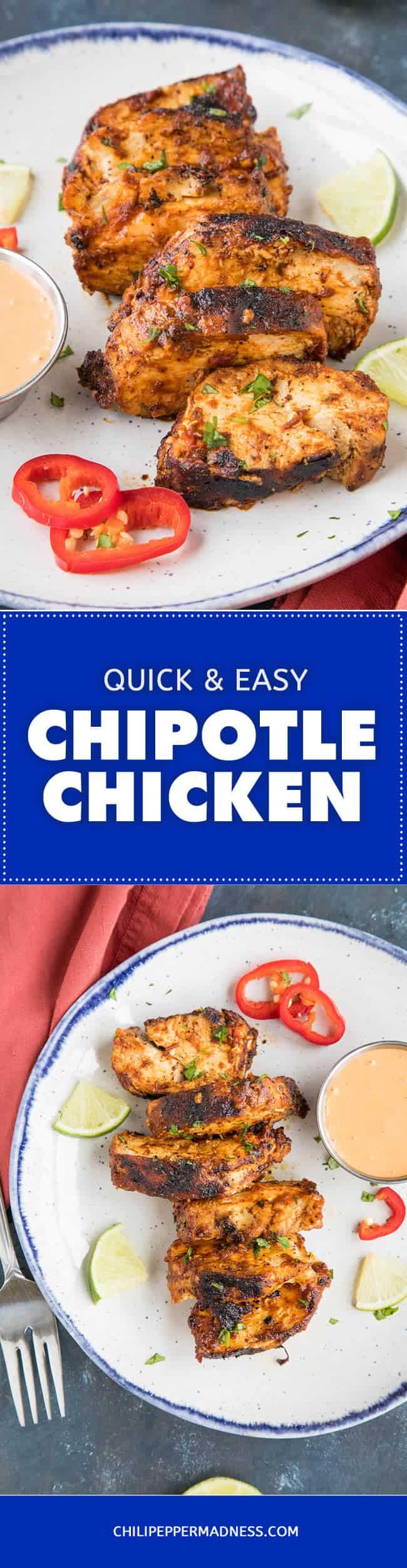 Chipotle Chicken Recipe - Recipe   ChiliPepperMadness.com #chipotle #easydinner #spicyfood