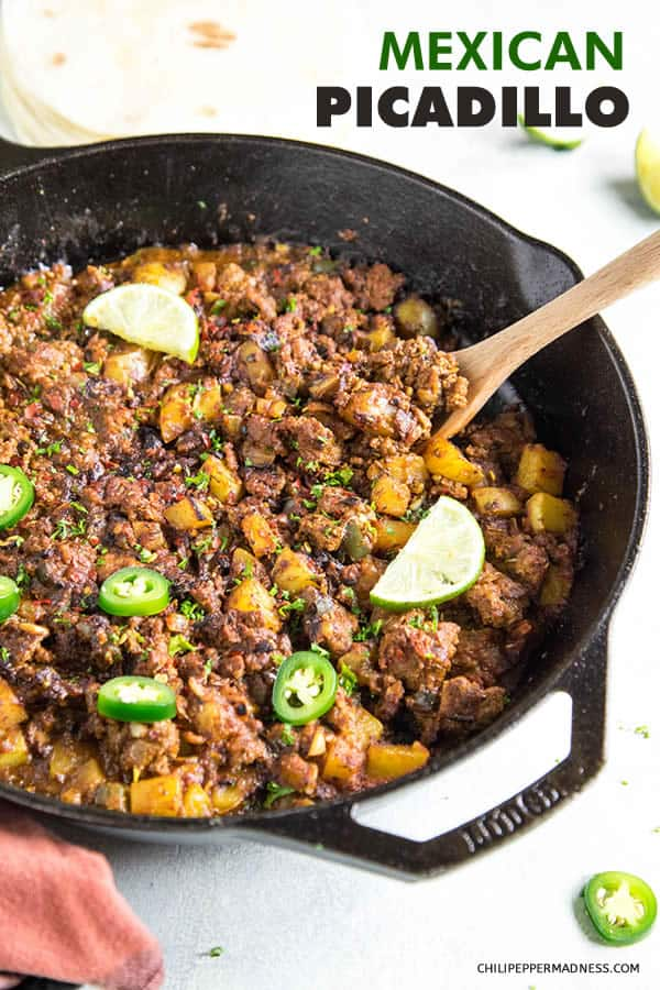 Mexican Picadillo - Recipe | ChiliPepperMadness.com #mexicanfood #mexicancuisine #picadillo #spicyfood