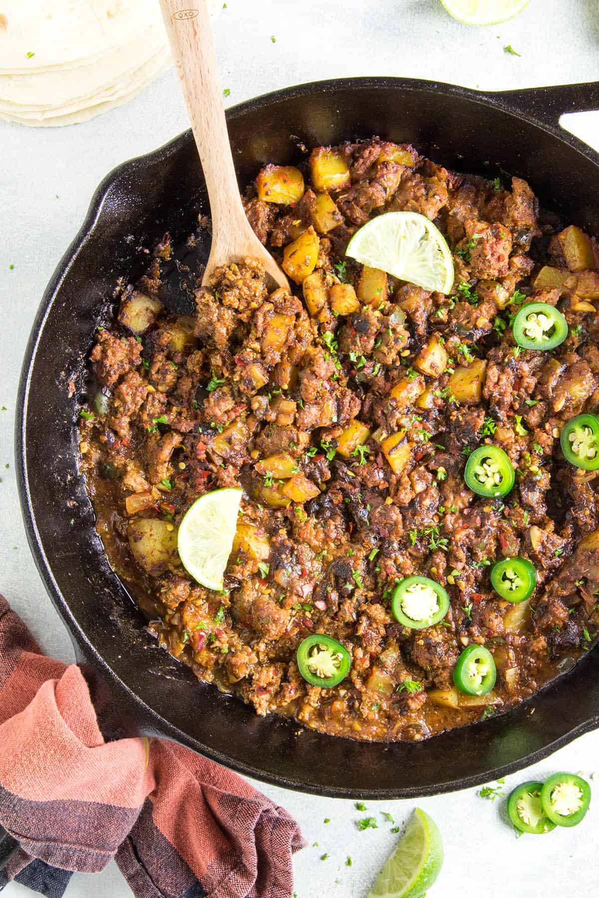 Mexican Picadillo Recipe - Made with ground beef, potatoes, ancho and loads of Mexican flavors.