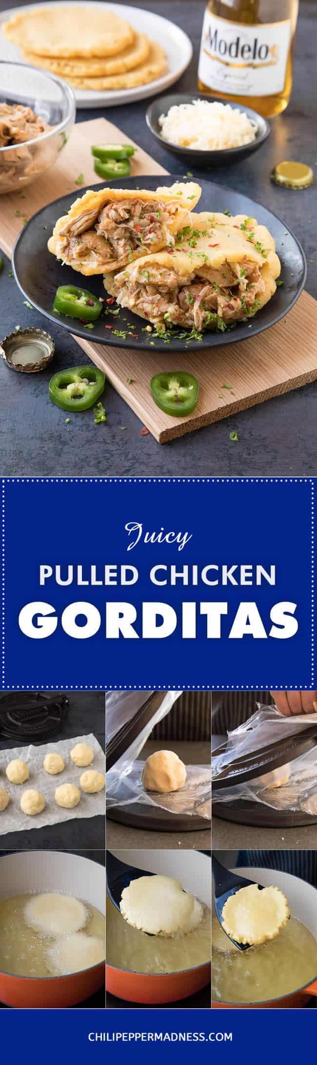 Pulled Chicken Gorditas - Recipe   ChiliPepperMadness.com #gorditas #pulledchicken #MexicanFood #CincodeMayo