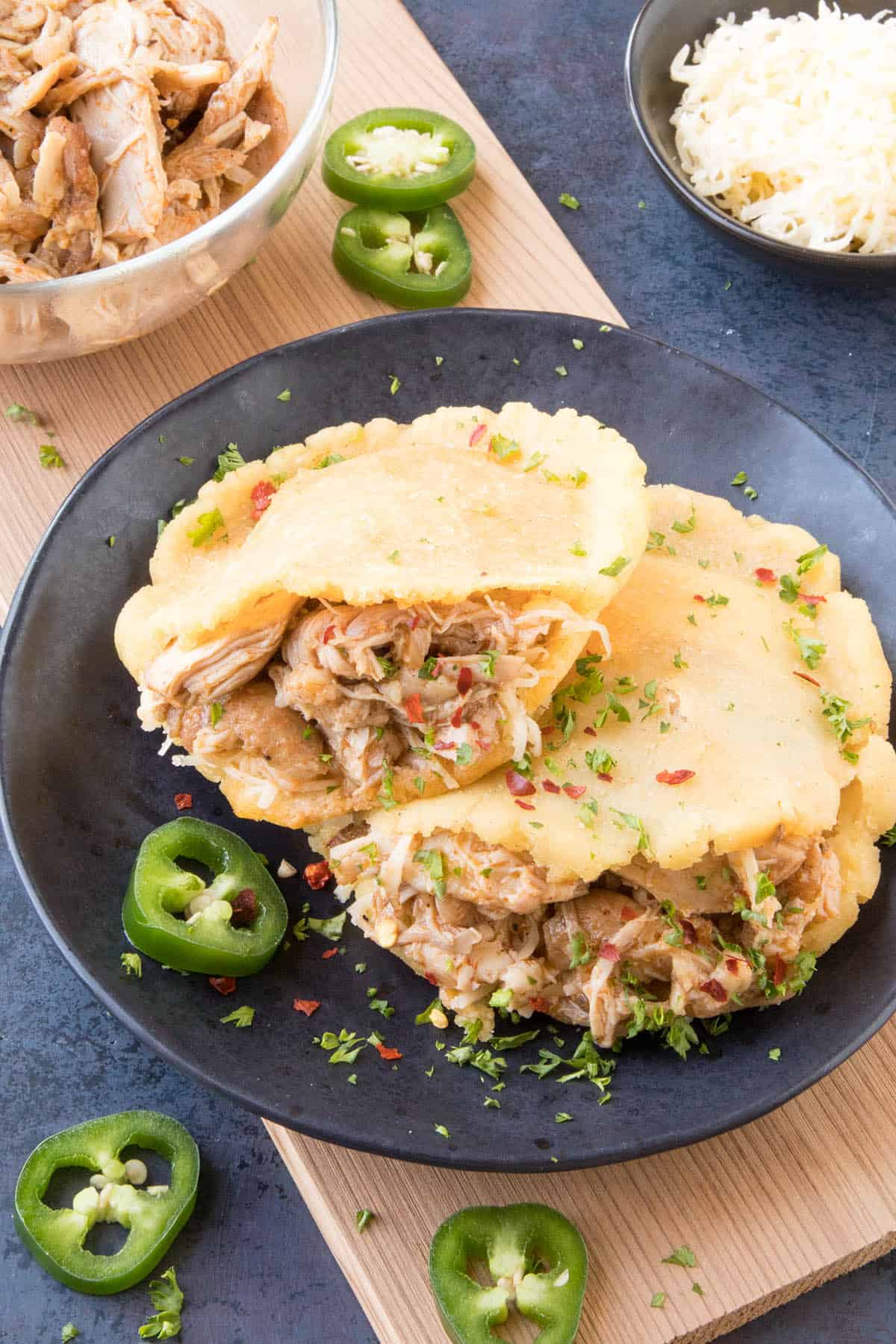 Pulled Chicken Gorditas Recipe - Stuffed with Delicious Pulled Chicken and read to eat