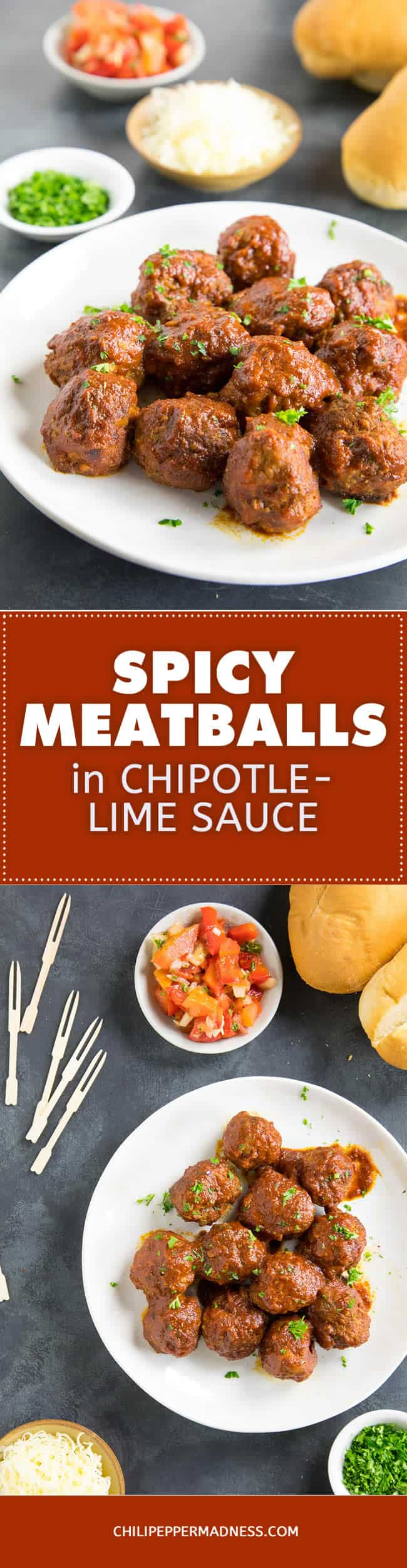 Spicy Meatballs in Chipotle-Lime Sauce - Recipe | ChiliPepperMadness.com #meatballs #chipotle #appetizer #spicyfood