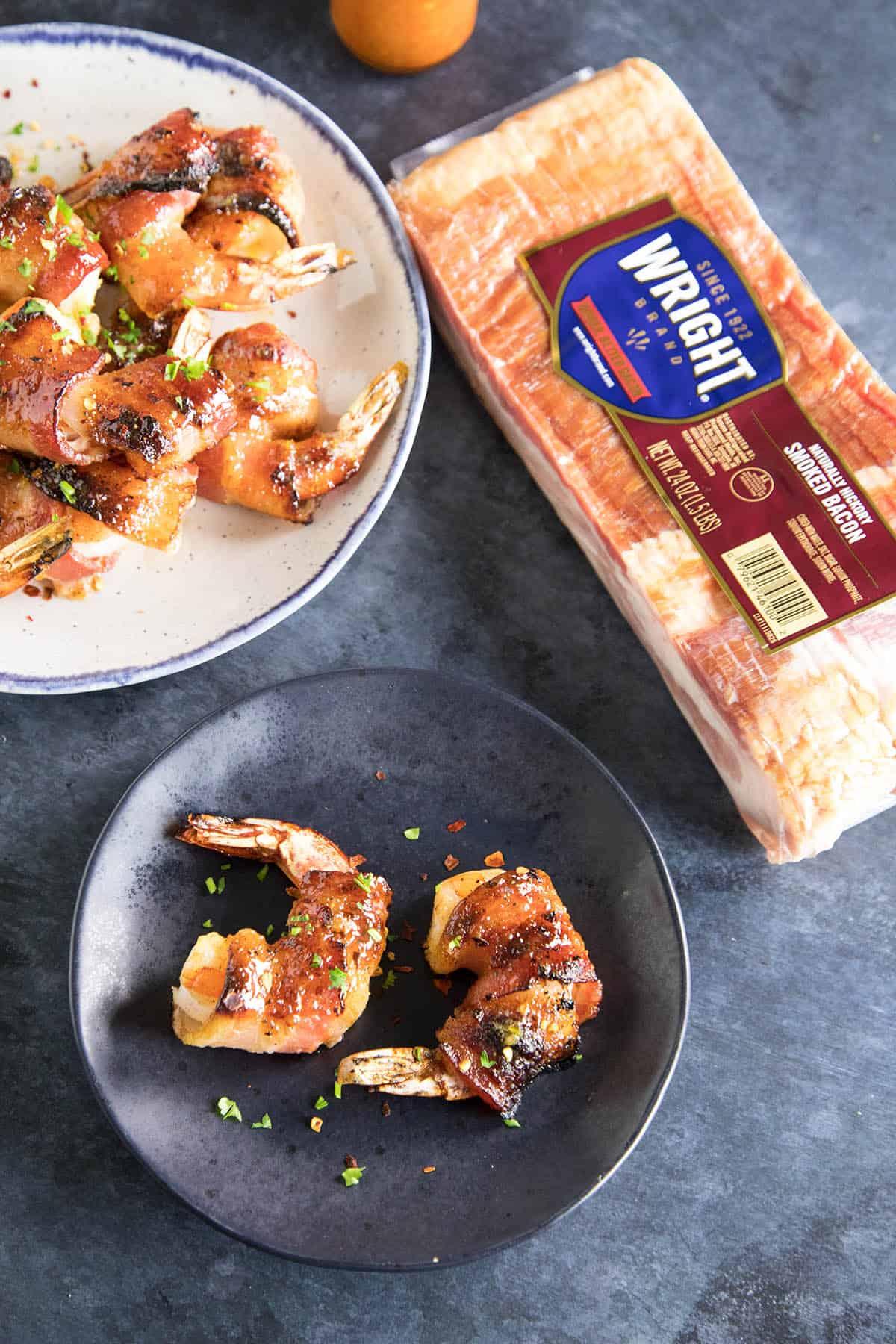 Habanero-Honey Glazed Bacon Wrapped Shrimp - with Wright Brand Bacon
