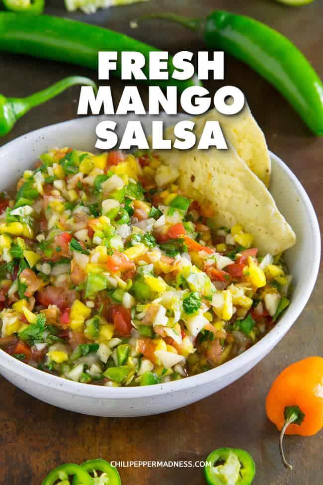 Fresh Mango Salsa - Recipe | ChiliPepperMadness.com #salsa #mango #spicyfood #spicy #appetizer #habanero #gameday #partyfood