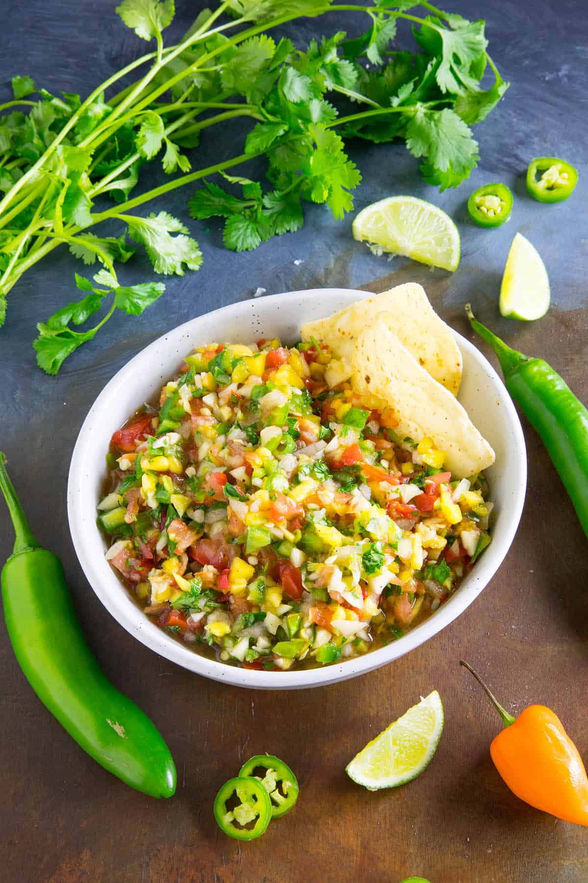 This Fresh Mango Salsa is Nice and Spicy with Habanero, Serrano, and Jalapeno Peppers