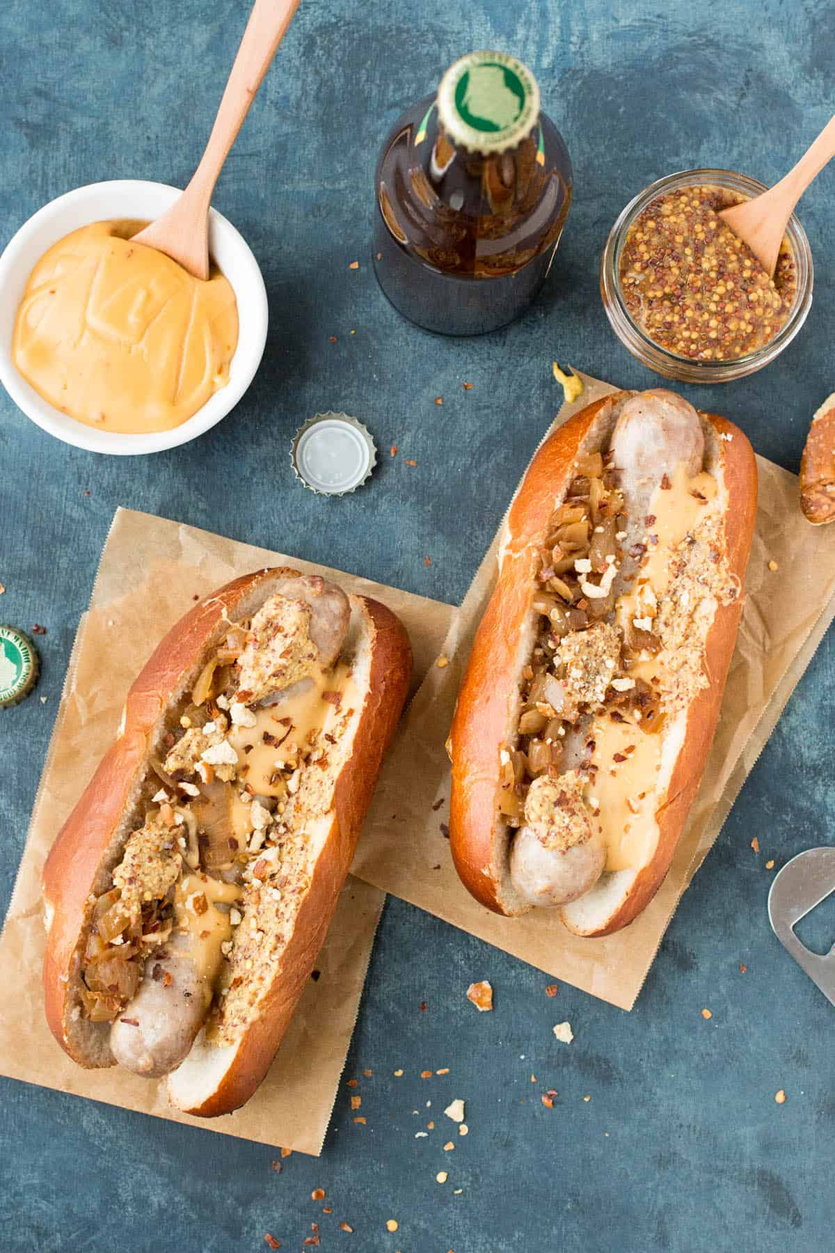 Grilled Beer Brats with Homemade Beer Cheese - Ready to Eat!