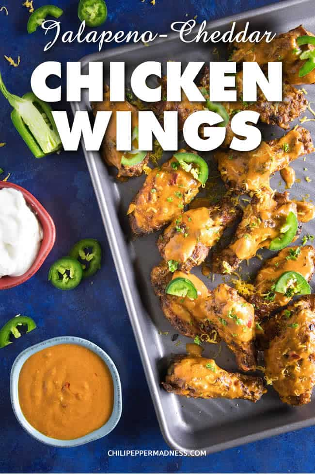 Jalapeno Cheddar Chicken Wings - Recipe | ChiliPepperMadness.com #chickenwings #hotwings #spicyfood #PartyFood