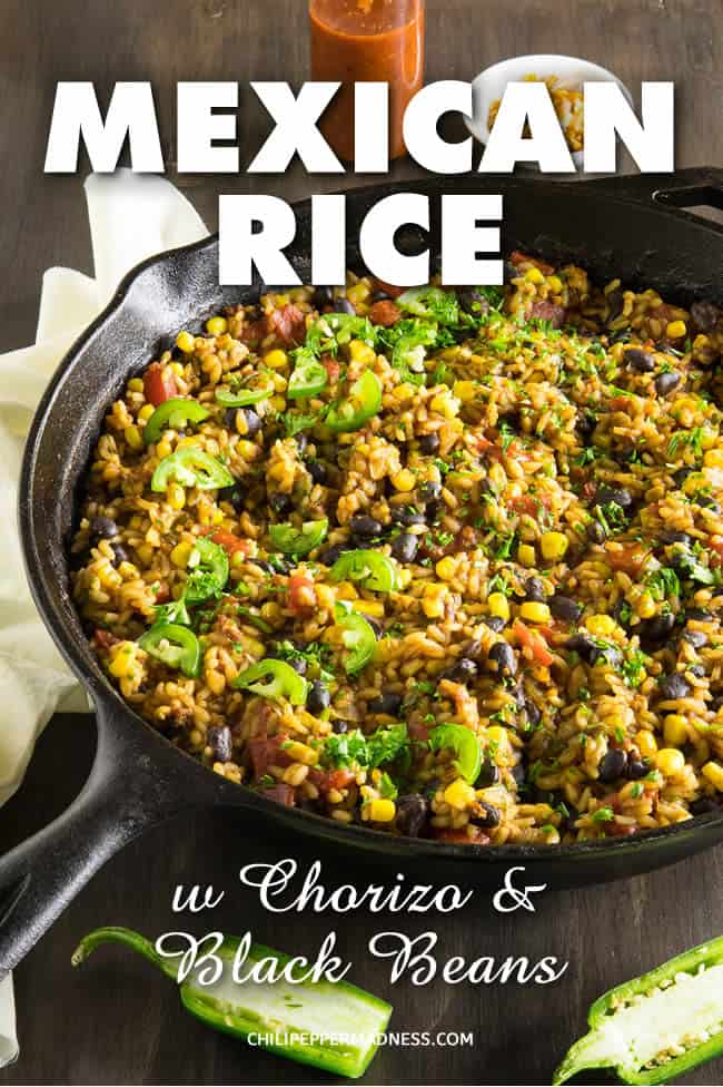 Mexican Rice with Chorizo and Black Beans - Recipe | ChiliPepperMadness.com #MexicanFood #MexicanRice #SideDish #OnePan #CincodeMayo #SpicyFood