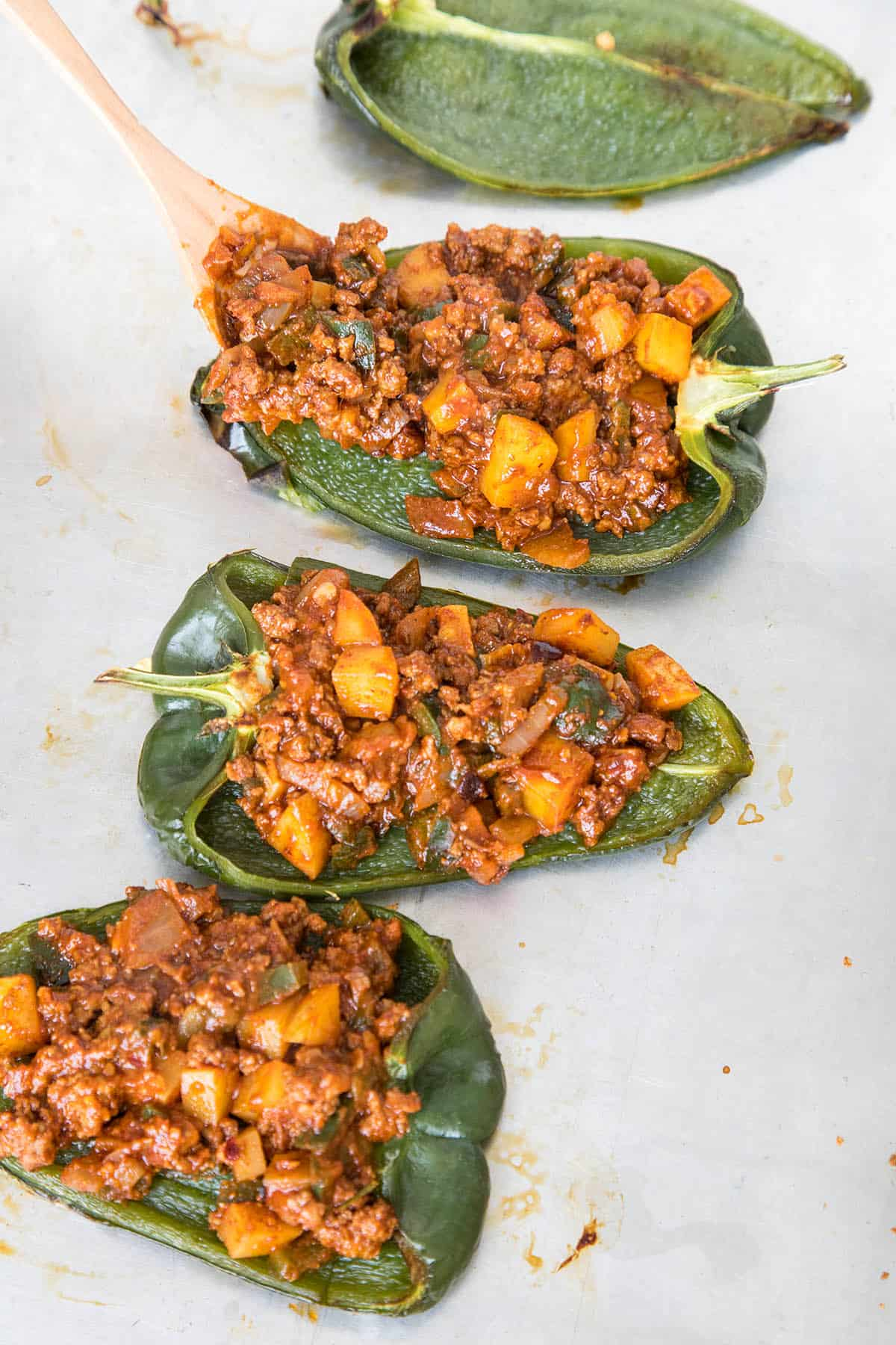 Filling the Poblano Peppers with Cooked Mexican Picadillo