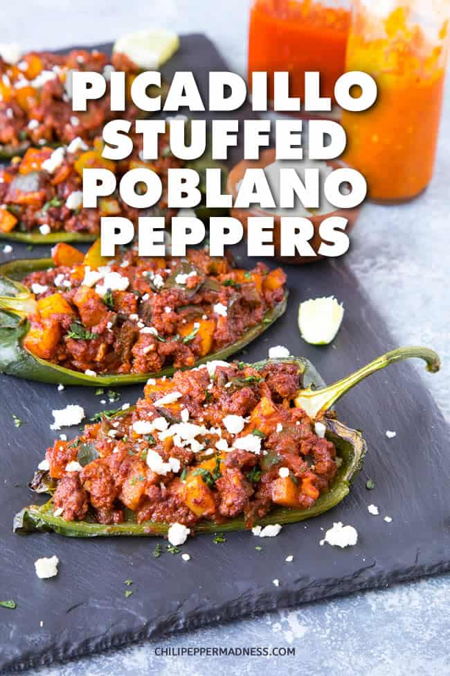 Picadillo Stuffed Poblano Peppers - Recipe | ChiliPepperMadness.com #StuffedPeppers #StuffedPoblanos #SpicyFood #DinnerIdeas #MexicanFood