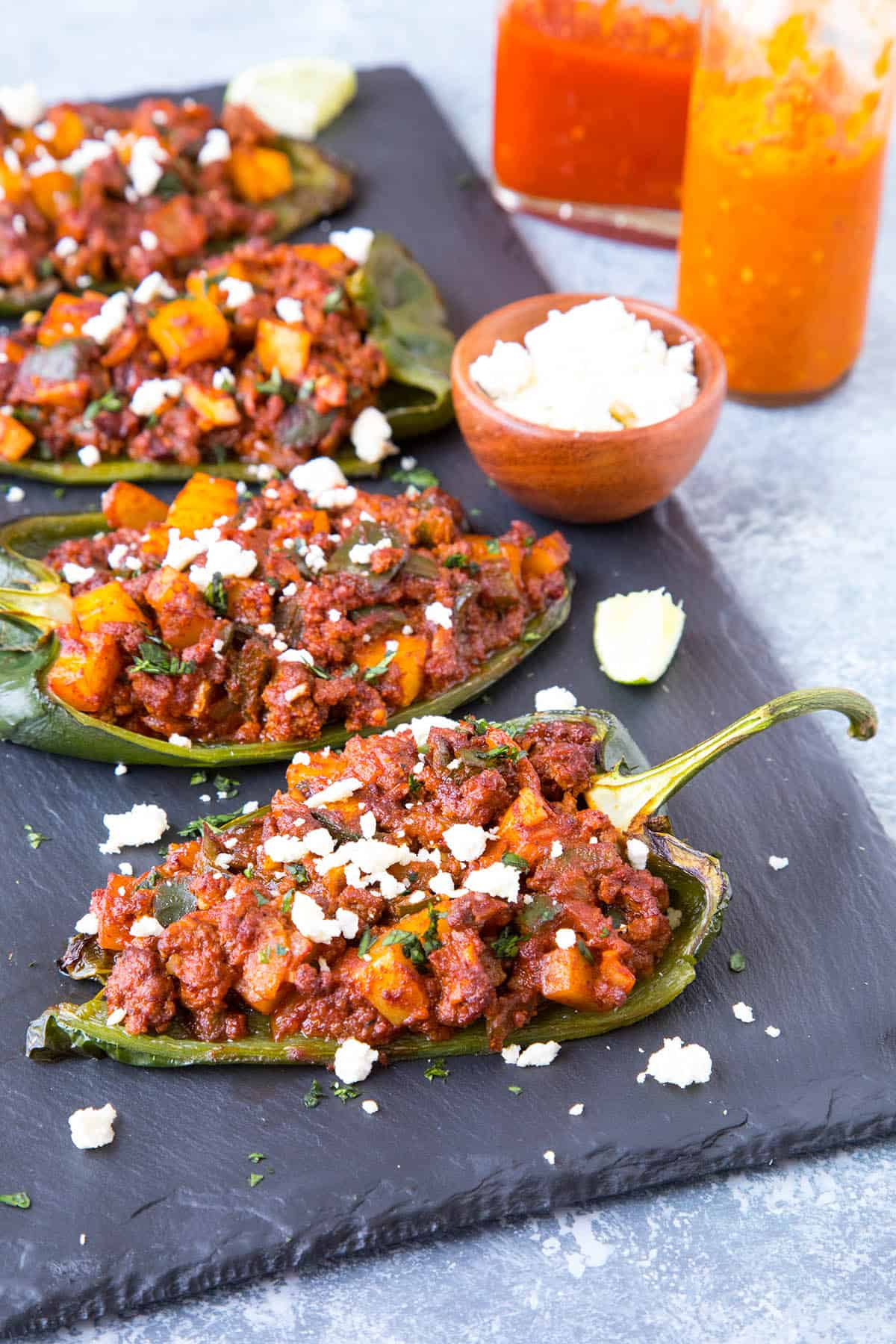 Picadillo Stuffed Poblano Peppers