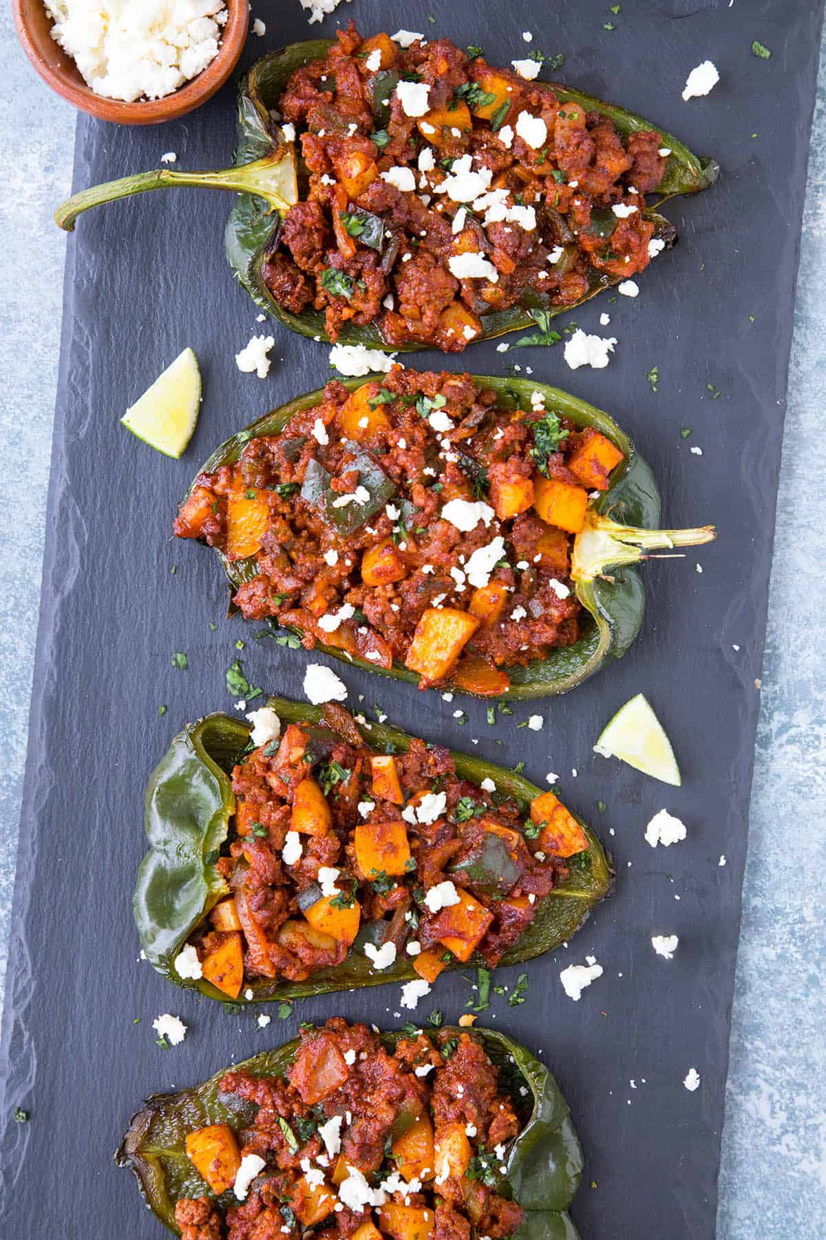 Picadillo Stuffed Poblano Peppers - This Recipe Serves 4