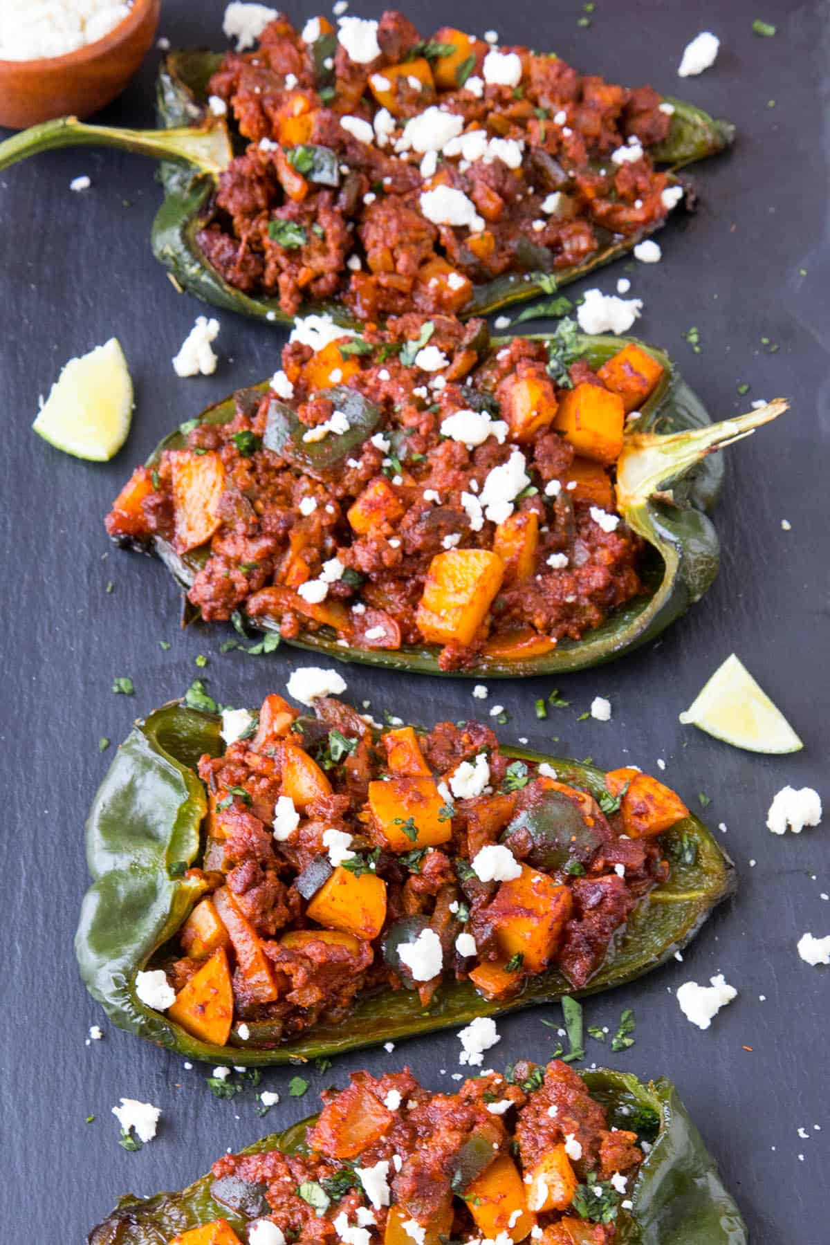 Picadillo Stuffed Poblano Peppers - Ready to Serve!