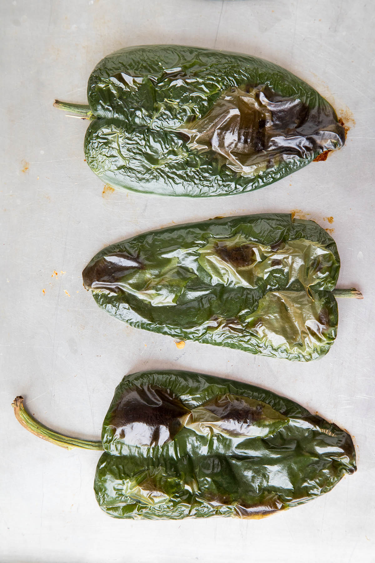These Poblano Peppers are Roasted and Ready for Stuffing for Our Picadillo Stuffed Poblano Peppers Recipe