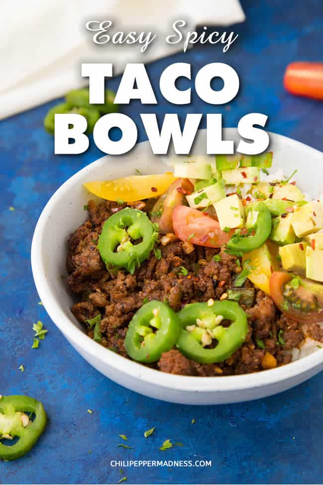 Easy Taco Bowls - Recipe | ChiliPepperMadness.com #Tacos #TacoTuesday #TacoBowl #EasyMeals